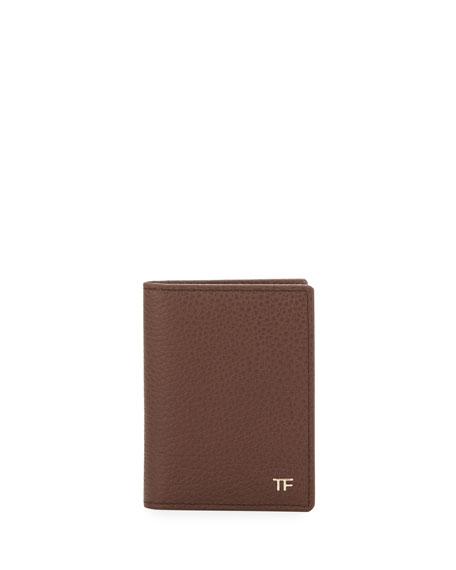Folded Calfskin Credit Card Case, Brown
