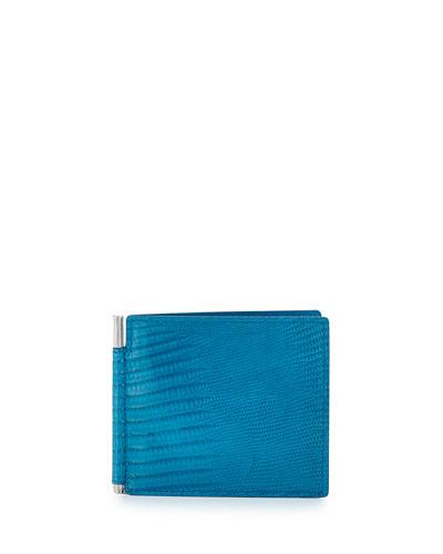 Lizard & Leather Bi-fold Wallet W/Money Clip, Turquoise