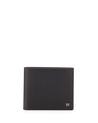 Men's Leather Bi-Fold Wallet, Black