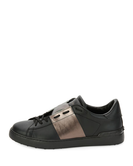 Leather Low-Top Sneaker with Stripe, Black/Gunmetal