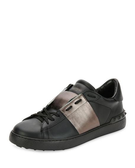 Leather Low-Top Sneaker with Stripe, Black/Gunmetal