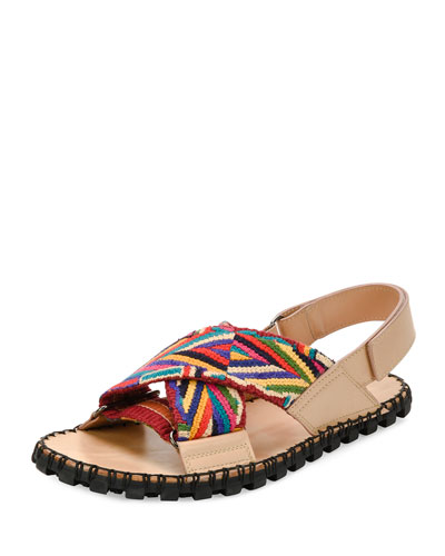Multicolored Crisscross Strappy Sandal