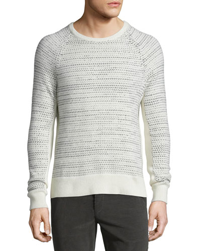 Justic Textured Cashmere Crewneck Sweater, Ivory
