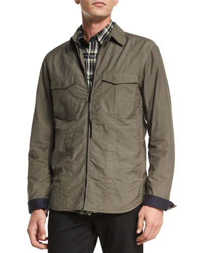 Holder Zip-Up Shirt Jacket, Olive