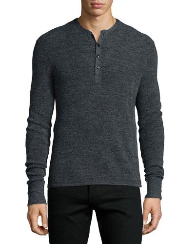 Garrett Long-Sleeve Henley Shirt, Charcoal