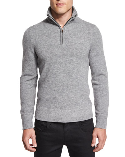 Nathan Half-Zip Pullover Sweater, Light Gray