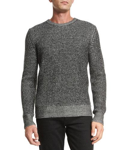 Vincent Textured Crewneck Sweater, Black