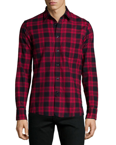 Check Long-Sleeve Shirt, Red