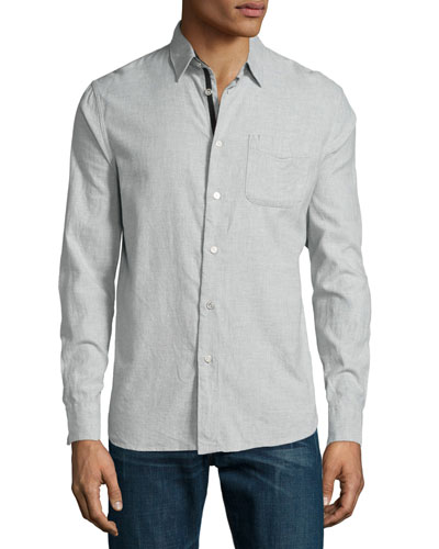 Beach Long-Sleeve Sport Shirt, Gray