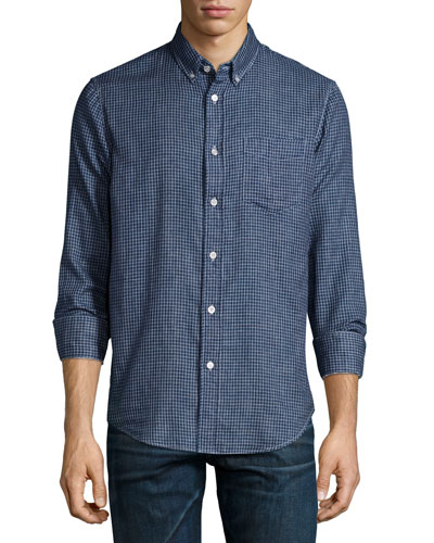 Yokohama Check Button-Down Shirt, Indigo