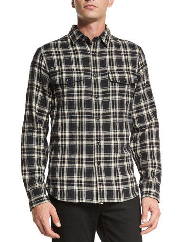 Jack Plaid Button-Down Shirt, Black