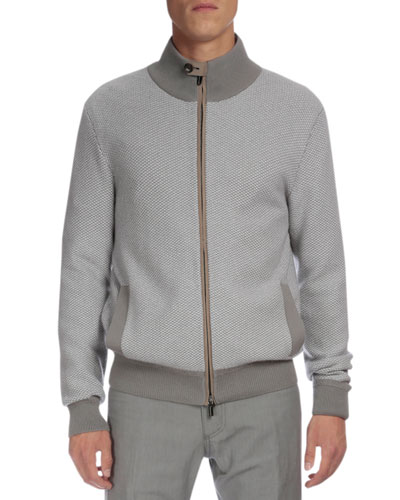 Textured Cashmere Full-Zip Cardigan, Gray