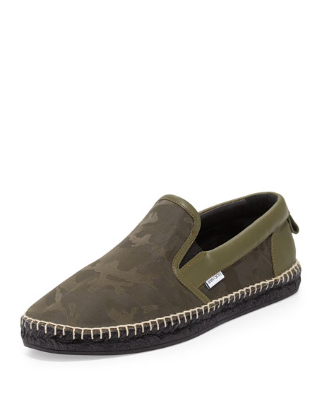 Vlad Men's Camo-Print Espadrille Slip-On Sneaker, Green