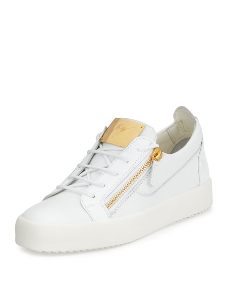 Giuseppe ZanottiMen's Patent Leather Low Top Sneaker, White
