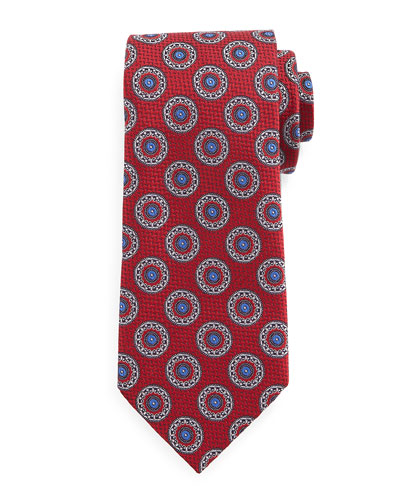 Circle-Medallion Print Silk Tie, Light Blue