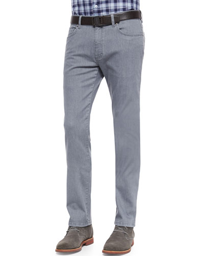 Slim-Fit Denim Jeans, Dark Gray