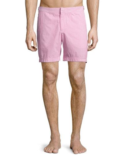 Bulldog Seersucker Swim Trunks, Pink