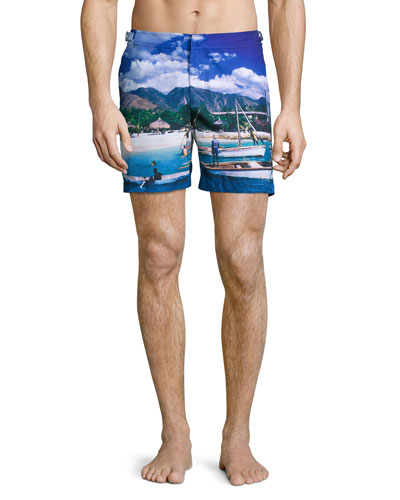 Bulldog Haitian Hiatus Printed Swim Trunks, Blue Pattern
