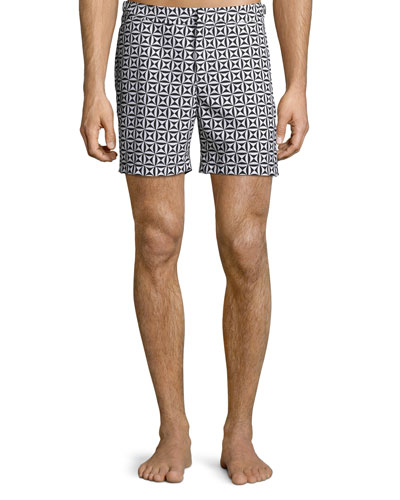 Bulldog Printed Swim Trunks, Black Pattern