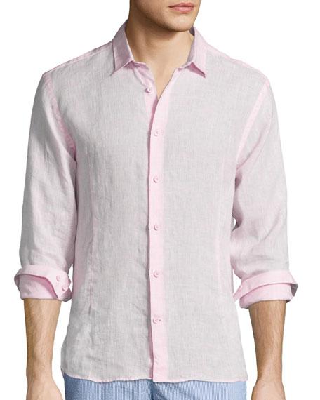 Morton Long-Sleeve Linen Shirt, Pink