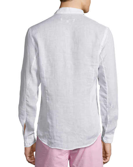Morton Long-Sleeve Linen Shirt, White