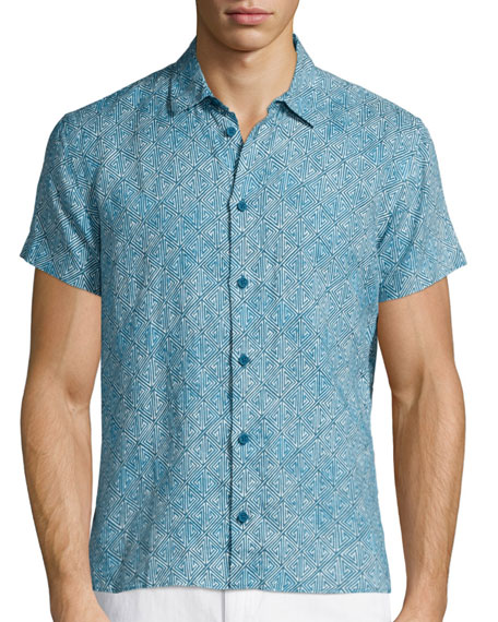 Orlebar Brown Batik-Print Short-Sleeve Linen Shirt, Teal