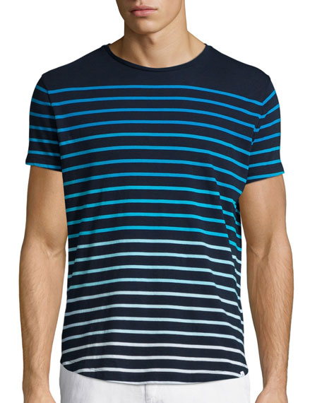 Gradient Stripe Short-Sleeve T-Shirt, Navy