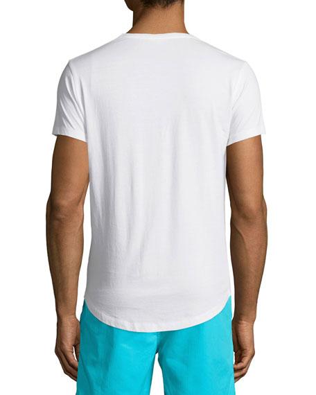 Waikiki-Print Short-Sleeve T-Shirt, White Pattern