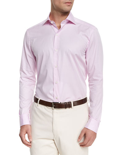 Solid Chambray Woven Sport Shirt, Pink