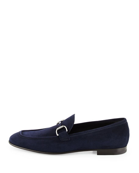 Suede Bit-Strap Loafer, Navy
