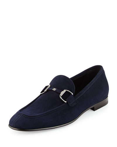 Cannes Suede Bit-Strap Loafer, Navy