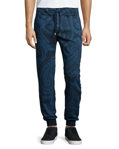 Tonal-Paisley Print Drawstring Sweatpants, Navy
