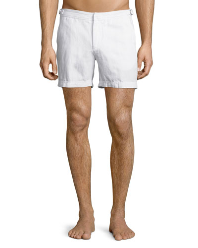 Cavrin Solid Linen Shorts, White