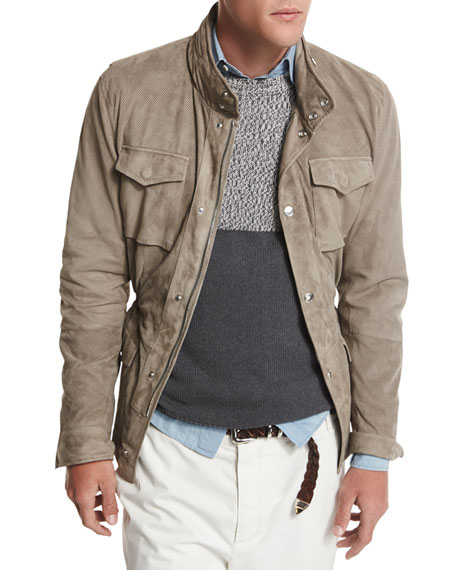 Suede Safari Jacket, Taupe