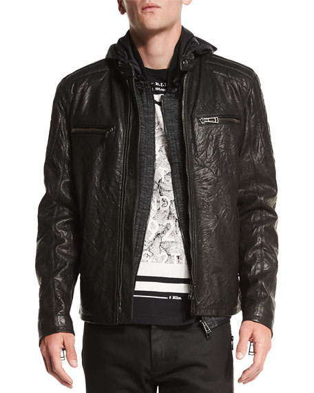 Belstaff Archer Coated Leather Jacket, Black