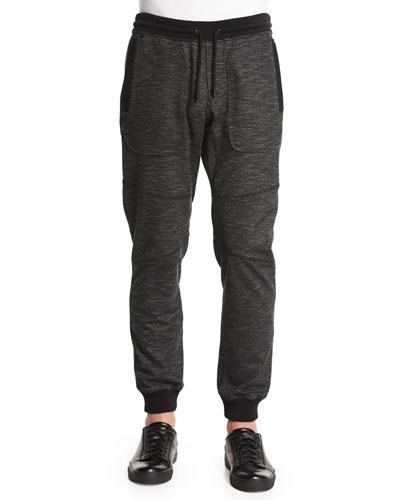 Marled Fleece Sweatpants, Black