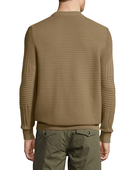 Kallen Multi-Stitch Crewneck Sweater, Slate Green