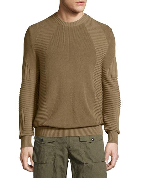 Kallen Multi-Stitch Crewneck Sweater, Slate Green