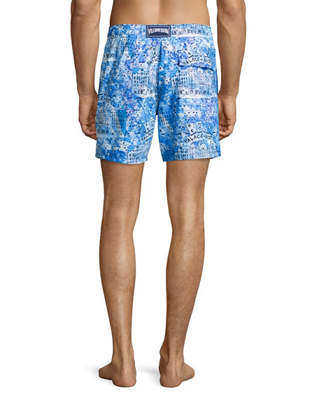 Moorea Hotel-Print Swim Trunks, Blue Pattern