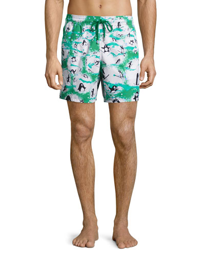 Moorea Happy Penguin-Print Swim Trunks