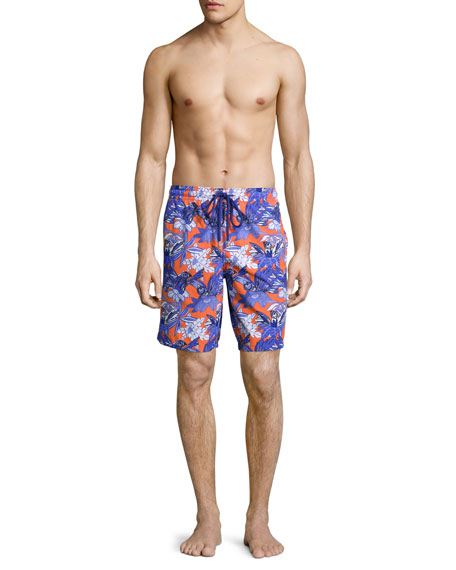 Okoa Forest Paradise Printed Boardshorts, Red