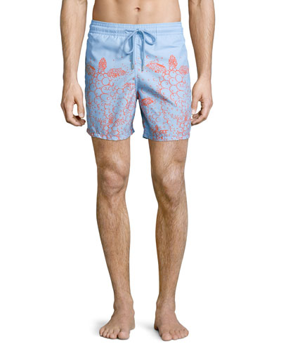 Moorea Bubble Turtle Print Swim Trunks, Bleu Ciel