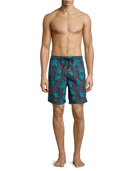 Okoa Sea Reflection Printed Swim Trunk, Black Pattern