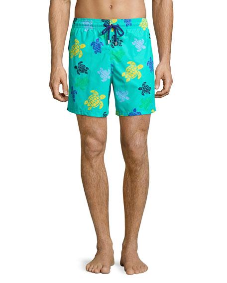 Moorea Multicolored Turtle-Print Swim Trunks