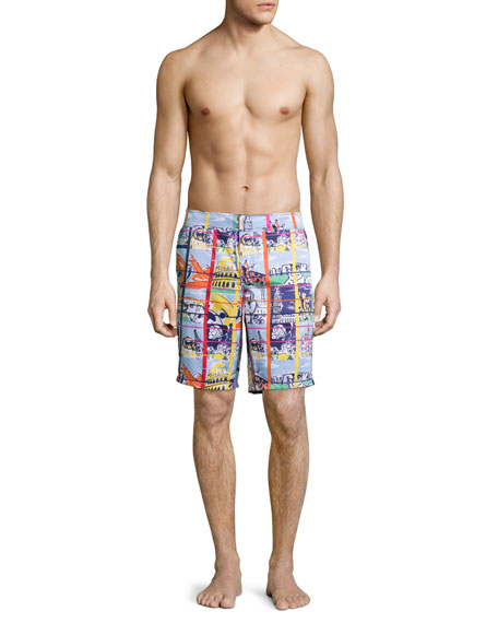 Maori Animal-Print Swim Trunks, Blue