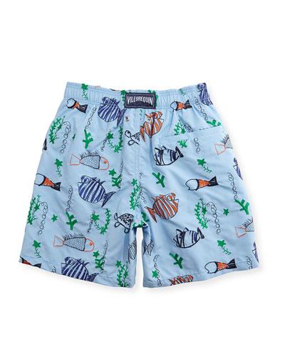 Jam Mistral Embroidered Swim Trunks, Blue Ciel, Size 10-14