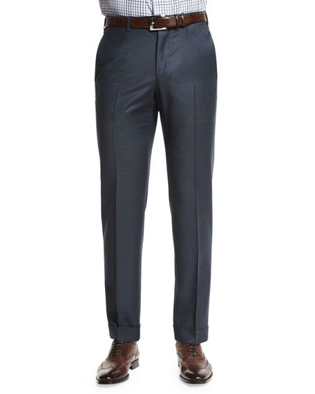 Trofeo Flat-Front Trousers, Blue