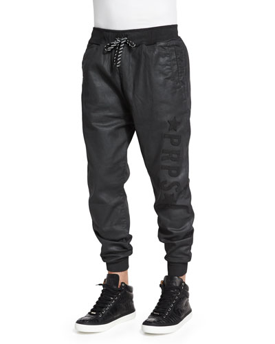 Resin-Coated Terry Fleece Jogger Pants, Black