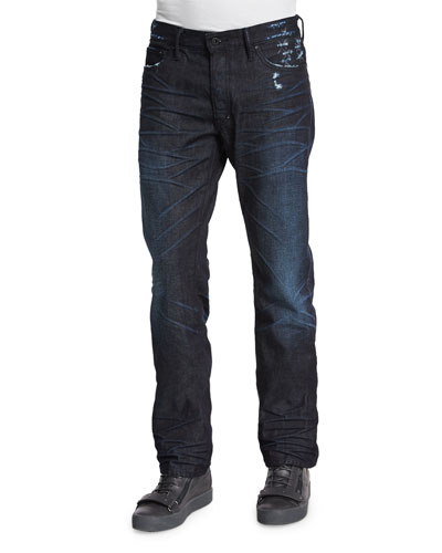 Dark Denim Jeans with Abrasion, Dark Blue