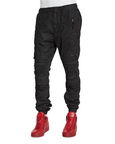 Relaxed-Leg Moto Jogger Pants, Black